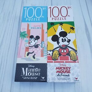Disney's  Mickey Mouse And Friends Mickey and Minnie Two 100 PC Jigsaw Puzzles