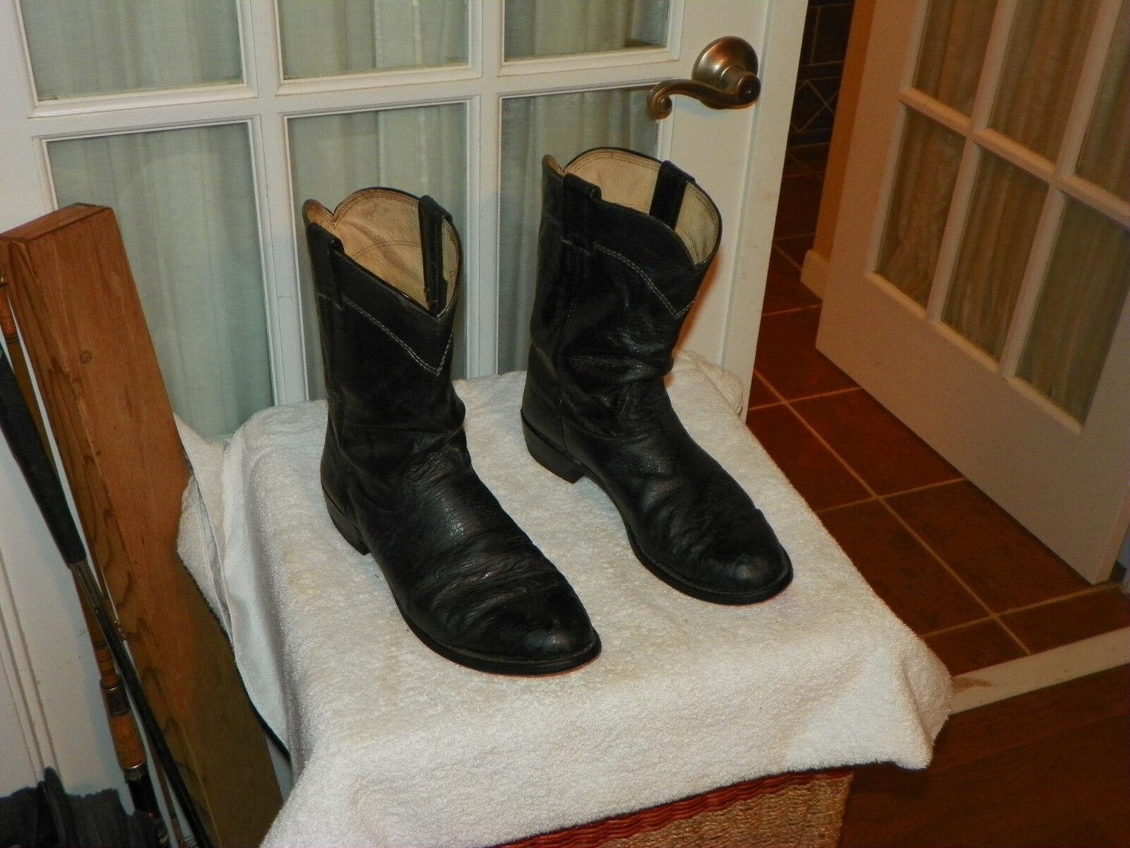 Men's LARRY MAHAN EE. UU. Negro Avestruz Western Cowboy botas D