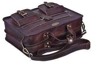 Dark-Brown-Genuine-Leather-Tote-Bag-Briefcase-Attache-Shoulder-Strap-Carry-On