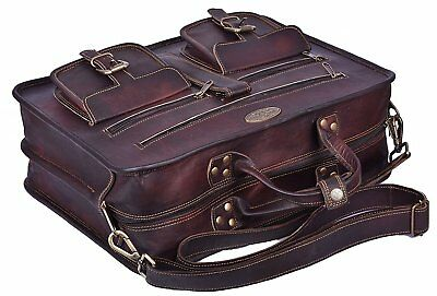 Dark Brown Genuine Leather Tote Bag Briefcase Attache Shoulder Strap Carry On