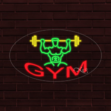 Brand New Gym Withlogo Oval 30x17x1 Inch Led Flex Indoor Sign 34350