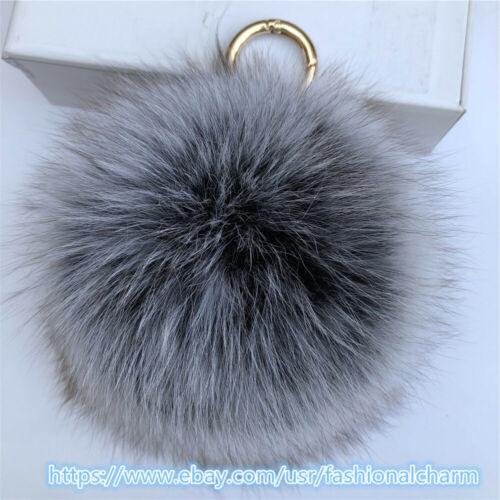 "15cm 6/"" Large Black Frost Real Fox Fur Ball Pompom Keyring Bag Phone  Pendent"