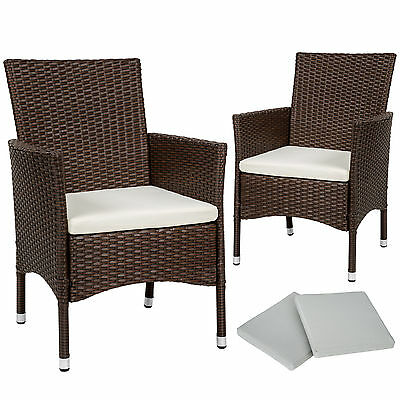2 x Ratán sintético silla de jardín set sillón exterior balcón terraza mixto
