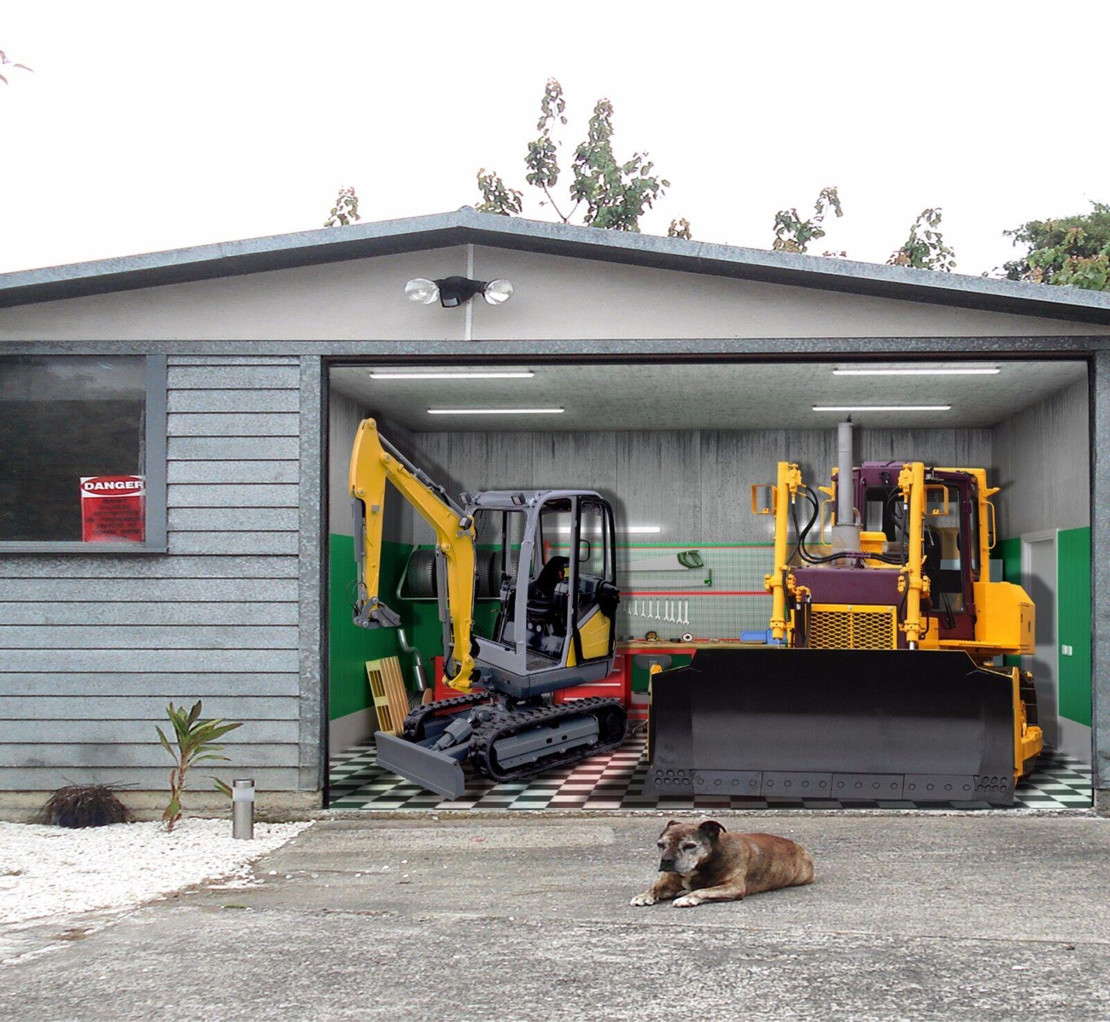 3D Excavator Garage Door Murals Wall Print Decal Wall Deco AJ WALLPAPER UK