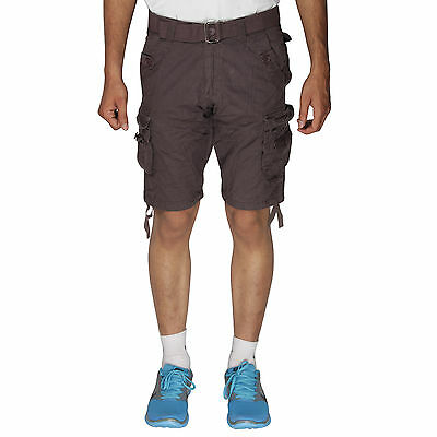 BlackCoal Mens Cotton Shorts 6 Pocket Cargo Coffee Brown Shorts MASR34