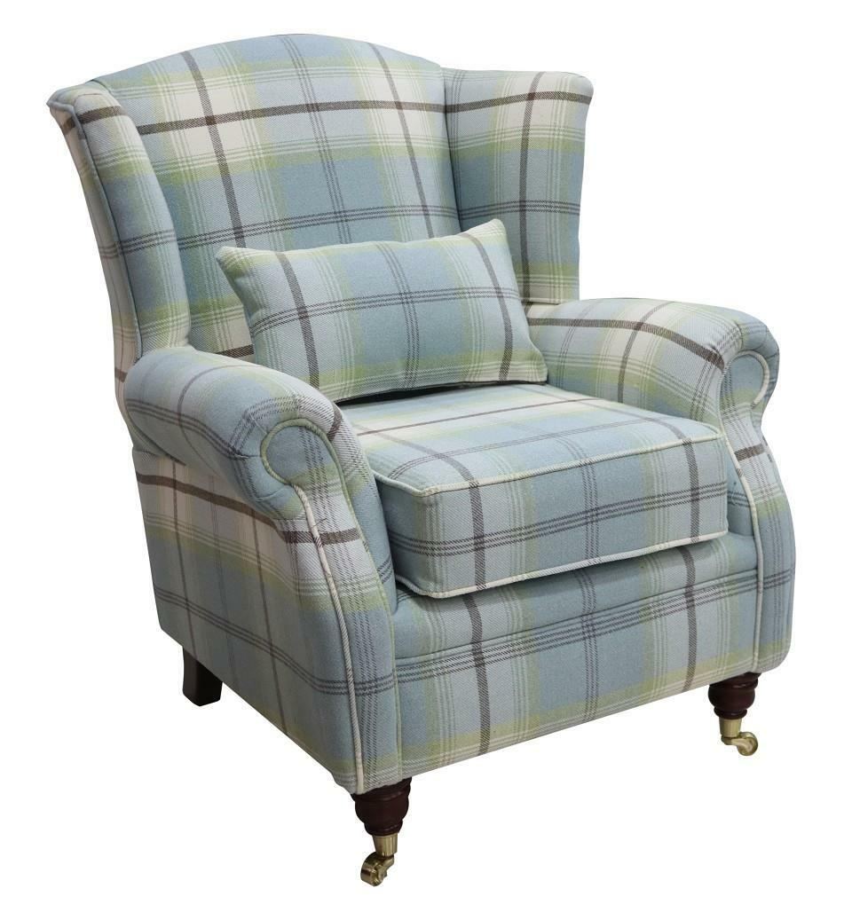 Terrific Details About Ashley Wing Chair Fireside High Back Armchair Balmoral Duck Egg Blue Check Ps Spiritservingveterans Wood Chair Design Ideas Spiritservingveteransorg
