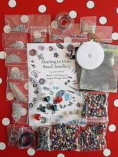 Jewellery making starter kit Beads, Book, Findings Silver plated Large selection