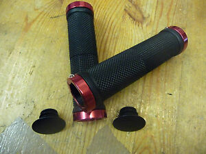 LOCK-ON-BIKE-CYCLE-HANDLEBAR-GRIPS-COLOUR-BLACK-WITH-RED-ENDS-NEW