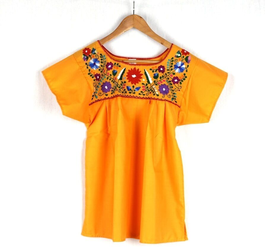 Hand Embroiderot Gelb Blouse Made Mexico New Boho Größe Large Stunning Quality