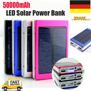 powerbank 50000mah led dual usb solarladeger t ladeger t batterie tragbares akku ebay. Black Bedroom Furniture Sets. Home Design Ideas