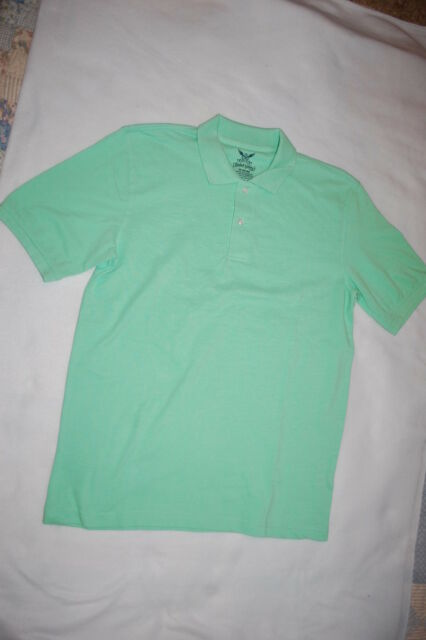 Mens S Polo Shirt Pale Sea Green Pastel Textured Fabric Solid Color M 38