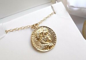 14 k yellow gold filled coin greek roman round necklace pendant image is loading 14 k yellow gold filled coin greek roman aloadofball Images