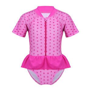 ce4c3689 Image is loading Baby-Girls-UV-Protection-Short-Sleeve-Swimsuit-Swimwear-