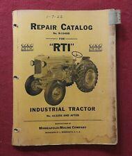 Original 1940 52 Minneapolis Moline Rti Tractor Parts Manual Catalog Rare