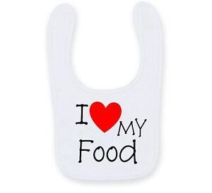Personalised I Love My Food Baby Bib, Cute Funny Auntie Baby Bib B012