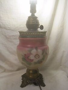 antique-Success-lamp-table-lamp-ornate-metal-painted-glass-electrified-light