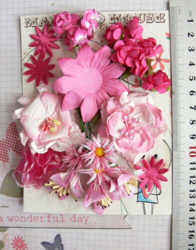 9 Styles PINK MIXED 5 TONES PAPER /& SILK Flowers 20-55mm HH1 23 Flowers