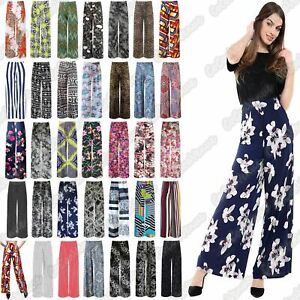 New-Ladies-Floral-Printed-Wide-Leg-Flared-Parallel-Baggy-Trousers-Pants-Palazzo