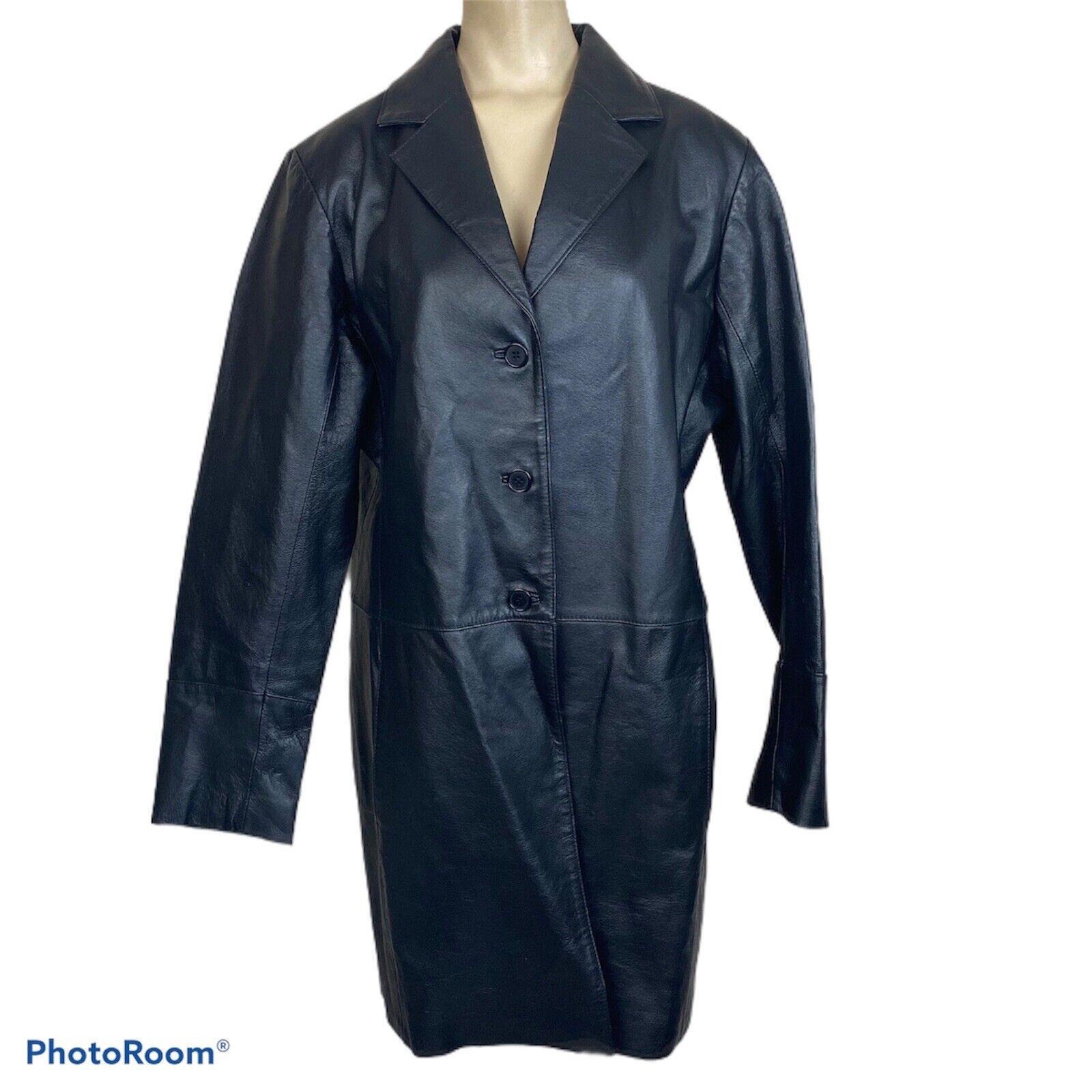 Vintage Bagatelle Womens L Long Leather Jacket Coat Black Button