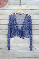 Vintage Blue Polkadot Mesh Tie Up Bolero Jacket (L)