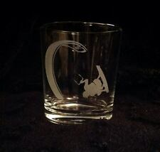 SANCTUARIES EDGE KITE SURFER ETCHED WHISKEY GLASS GIFT PRESENT SURFING POWER