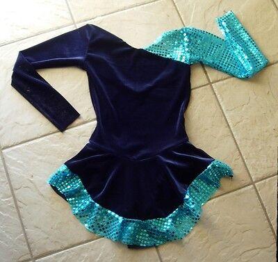 NEW Girls NAVY BLUE Chakira VELVET Competition FIGURE/ICE SKATING Dress 8/10 CL