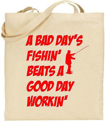 A Bad Tage Fishin' Groß Baumwolltasche Angel Ausrüstung Tasche Leinen Fisherm