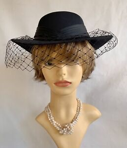 Vintage-1990s-Hand-Made-Black-Formal-Hat-Plain-Net-Satin-Pleated-Ribbon-amp-Bow