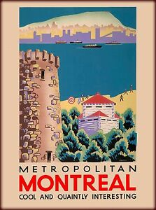 Metropolitan Montreal Canada Canadian Travel Advertisement Poster