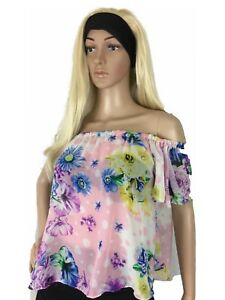 Women-039-s-Top-Chiffon-Crop-Relaxes-Off-The-Shoulder-Floral-Sheer-S
