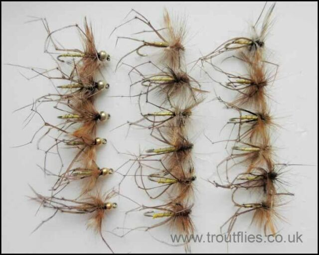 18 Daddy Long Legs Trout Fly Fishing Flies Goldhead and Normal, Mixed Pack