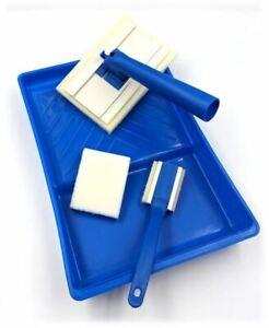 5pc-Set-Pastiglie-Vernice-Muro-Pittura-Vassoio-Roller-Pennello-manico-regolabile-in-spugna-PADS