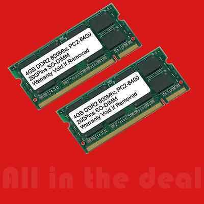 8GB Kit 2x 4GB 800 DDR2 800MHz Memory PC2-6400 200-pin Sodimm Laptop RAM