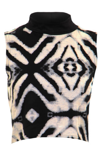 New Ladies Sleeveless Tie Dye Aztec Print Cropped Women/'s Top