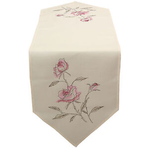 Red Poppy Doily Table runner Tablecloth Linen-look Cream with Flower Embroidery
