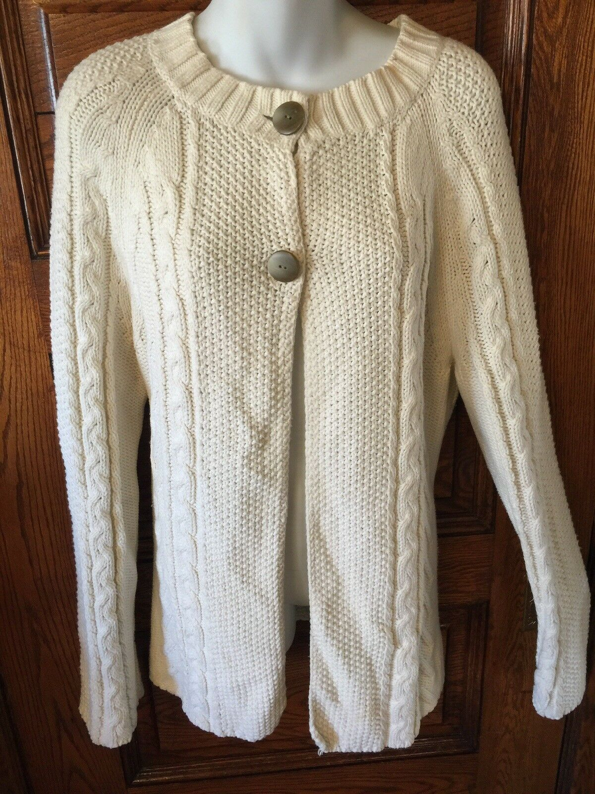 JONES NEW YORK Off-White Cream Classic Cable Knit CARDIGAN SWEATER Size XL EUC