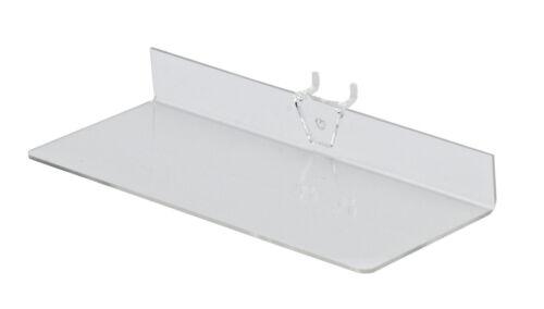 "25 Acrylic Shelves ¼/"" Pegboard 9"" Long x 4"" Wide Clear Shelf Plastic Display"