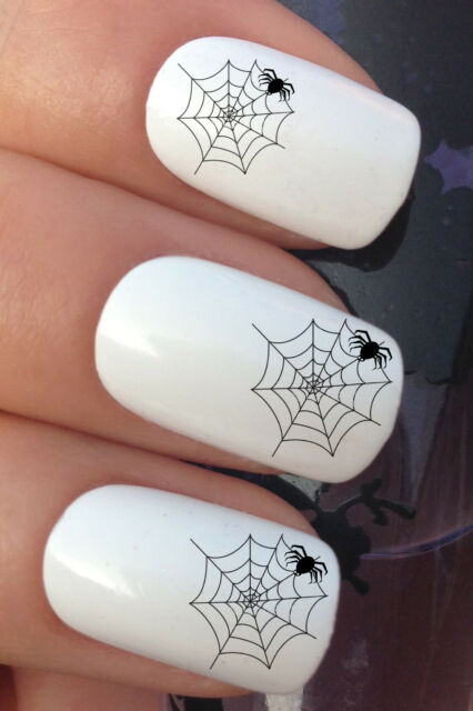 NAIL ART SET #292. x24 HALLOWEEN PARTY SPIDER WEB WATER TRANSFERS/DECAL/STICKERS