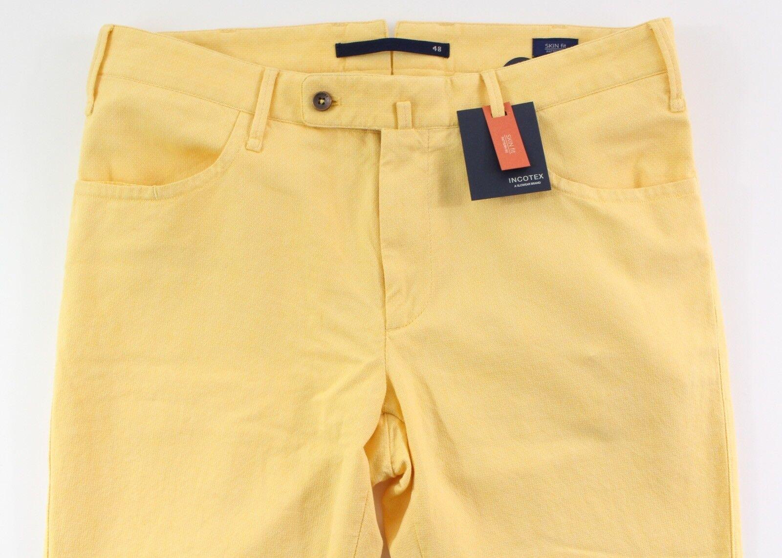 INCOTEX by Slowear Yellow Skin Fit Pattern 2 Pants (SZ. 48 US 32)