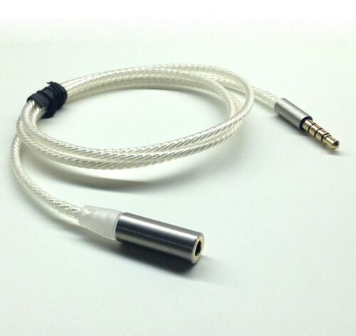 4 Pole 3.5mm Male to Female Silver plated Stereo Audio headphone Extension Cable