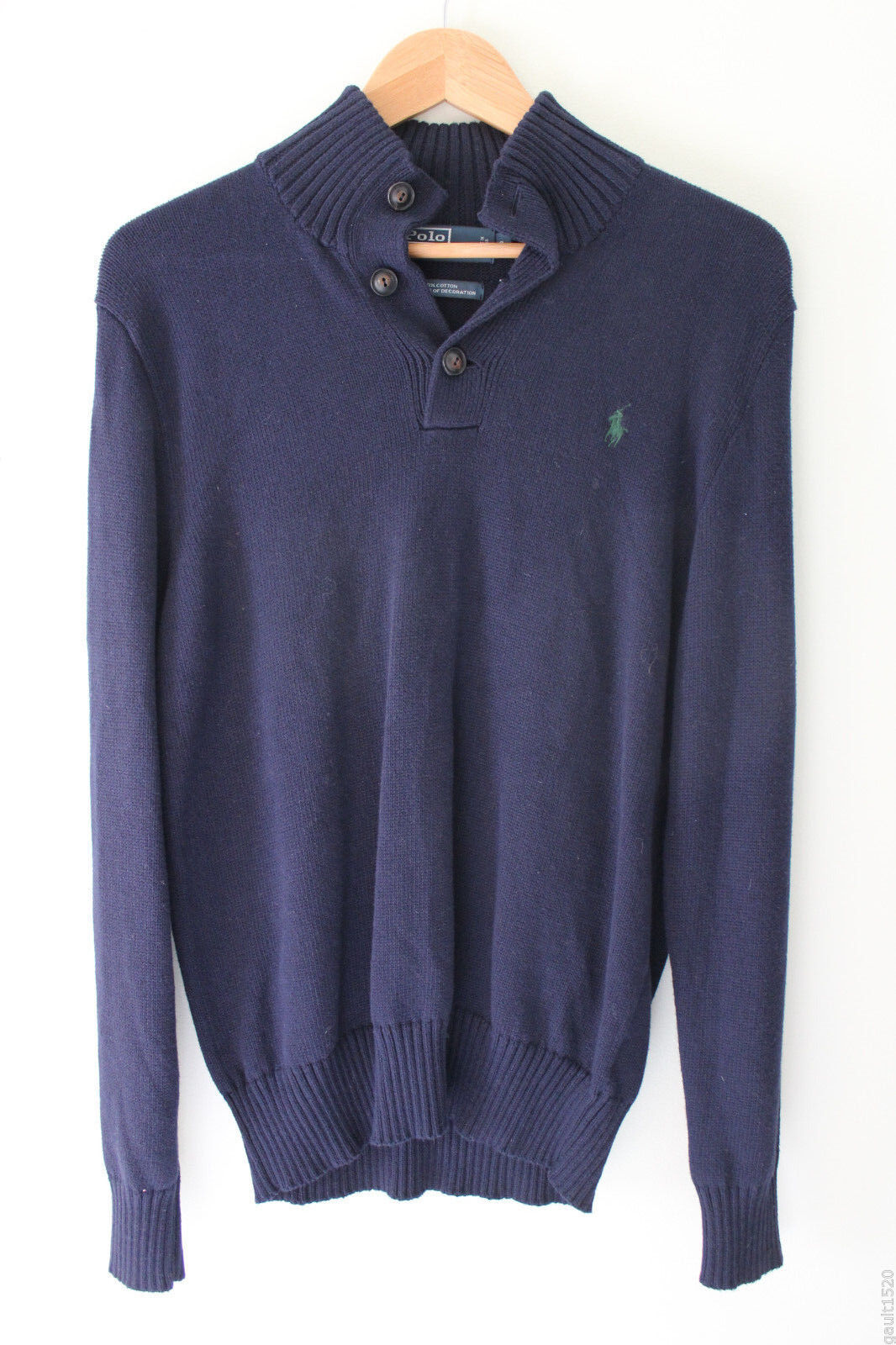 NWT Polo by Ralph Lauren Navy Blau Classics Pull Over Fine Cotton Sweater S 125