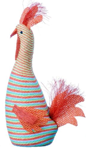 Funky Chicken Rooster Hen Figurine Handmade Fabric Set Of 2 pcs 187b
