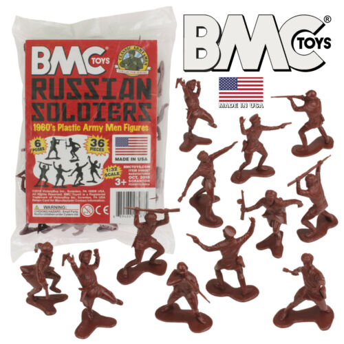 Made in USA BMC Marx Recast Russian Plastic Army Men 36pc WW2 Soldier Figures