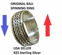 R160 Solid Sterling Silver Genuine Bali Spinning - Spin- Worry Rings Size 6-10.5