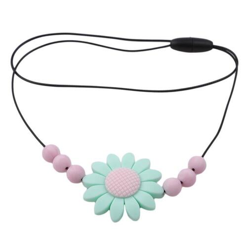 Baby Silicone Teething Necklace Nursing Teether Sunflower Round Beads Chain LC