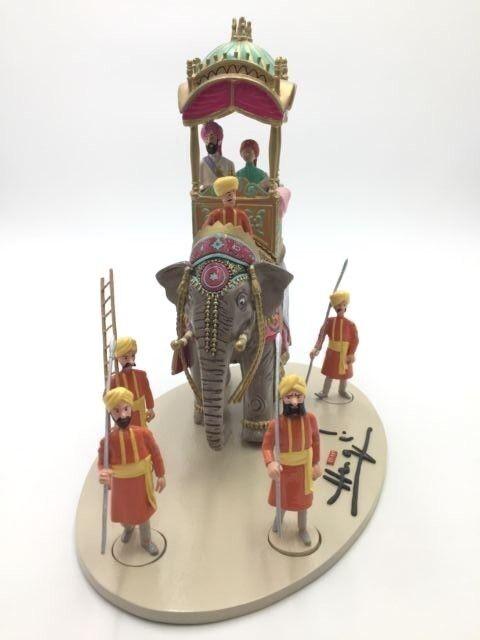 Figurine tintin scène triomphale éléphant altesse hergé moulinsart