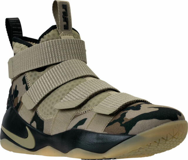 competitive price e214e 049d9 Nike Lebron Soldier XI Mens Basketball Shoes 14 Neutral Olive Camo 897644  200