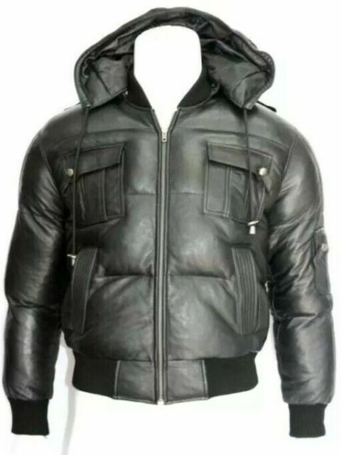 Airforce Black Men Hooded Hoody Bomber Real Soft Sheep Nappa Leather Jacket