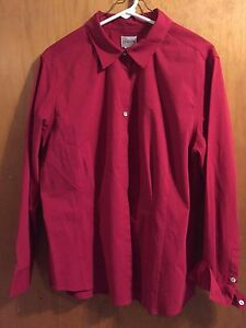 Chicos-dress-blouse-Shirt-womens-size-3-long-sleeve-red-button-down-cotton