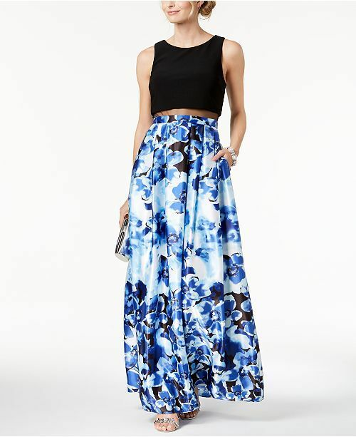 270 BETSY & ADAM Womens blueE FLORAL-PRINT PLEATED ILLUSION SKIRT GOWN SIZE 4